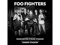 2x Foo Fighters pitch standing tickets, Olympic Stadium London, Friday 22nd June 2018