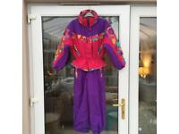 Children's ski suit - pink and purple - age 8 - very good condition