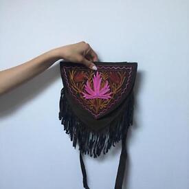 Hand made suede tassel satchel
