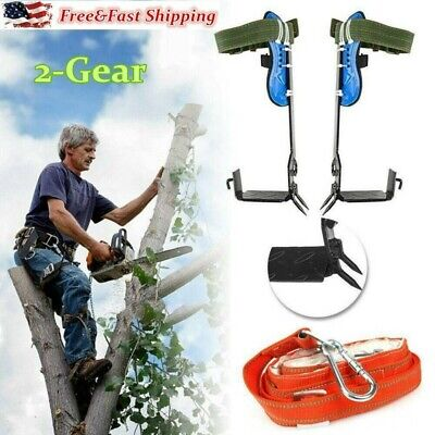 2-Gear Tree Climbing Spike Set Adjustable Belt Lanyard Rope With Hard Claws USA