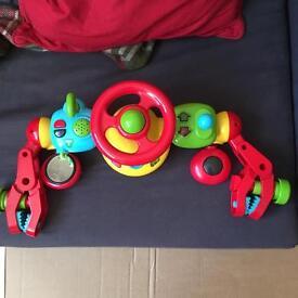 Pram/ car seat steering wheel play toy