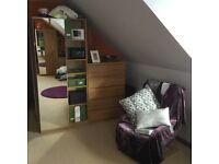 Oak pax wardrobes and malm drawers