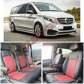 MINICAB LEATHER CAR SEAT COVERS FOR MERCEDES VITO RENAULT TRAFFIC FORD TRANSIT TOURNEO CUSTOM CADDY