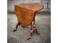 Attractive Antique Victorian Burr Walnut Sutherland Side Table