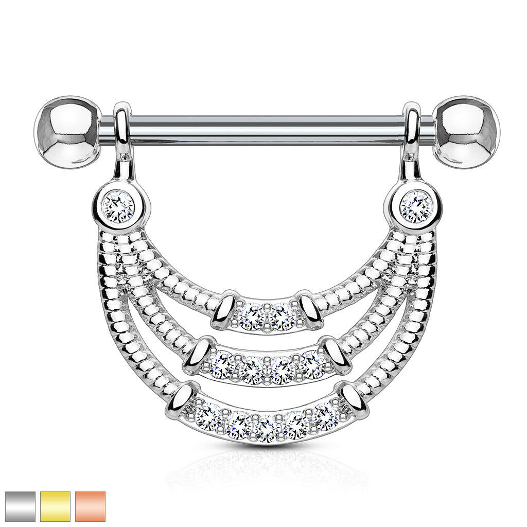 PAIR Triple Lined Gem Dangle Nipple Rings Shields - Steel, G