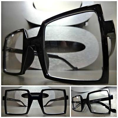 CLASSIC VINTAGE RETRO Style Clear Lens EYE GLASSES Square Black Fashion Frame