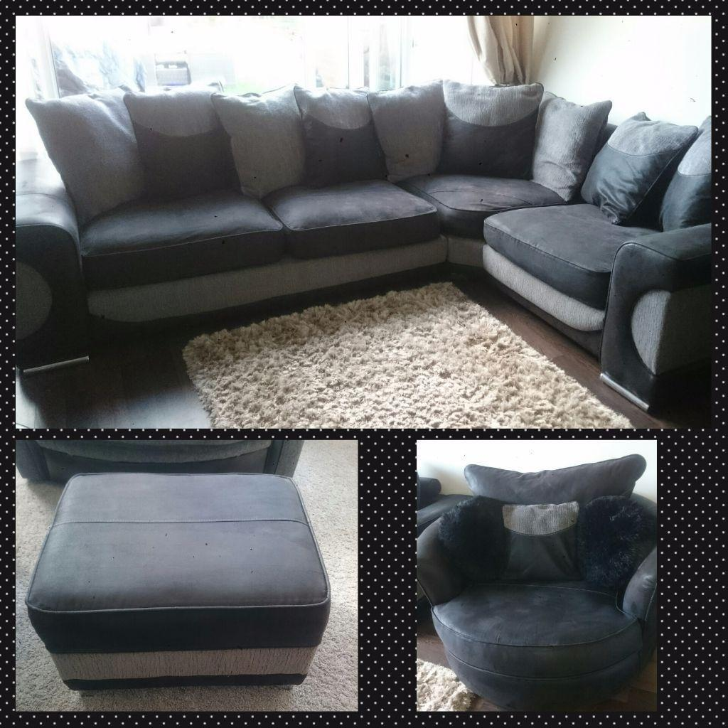 Sofaworks Halo black and grey large corner sofa, swivel cuddle chair and storage footstool in
