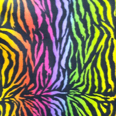 Fleece Fabric RAINBOW ZEBRA TIGER PRINT MULTICOLOR BLACK STRIPE 60