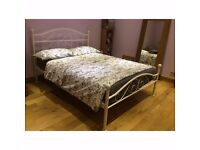 Beautiful Elegant Metal Queen Sized Bed Frame In White