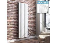 1600 x 532 Vertical Column Designer Radiator White Gloss Double Flat Panel