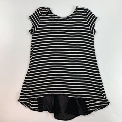 Kim & Cami Womens Blouse Black White Stripes Cap Sleeve Crew Neck Stretch Top -