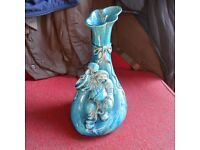 ANTIQUE JAPANESE PORCELAIN VASE, WITH DAIKOKU GOD ATTATCHED.