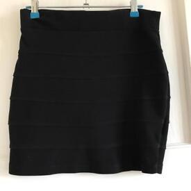 Black Textured Bodycon Skirt