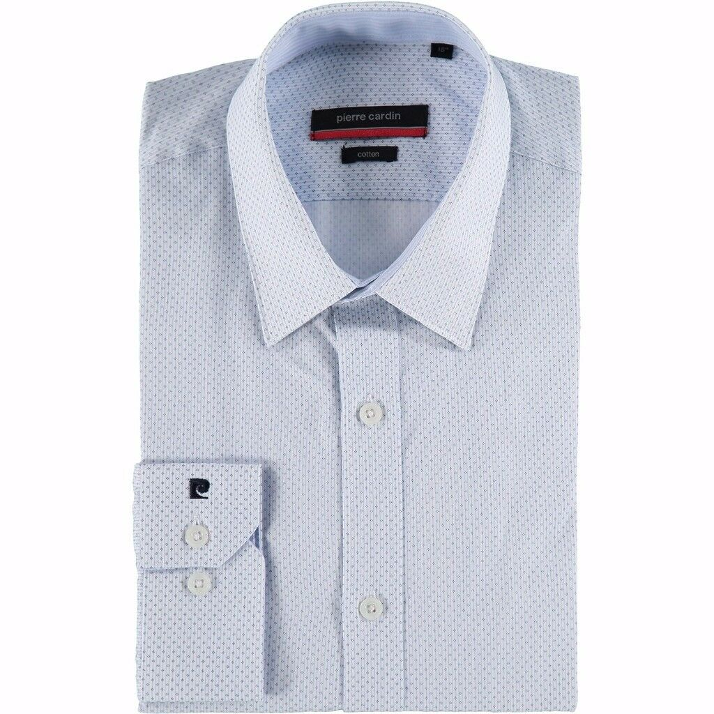 New Pierre Cardin White Blue Men's Shirt Size 15.5