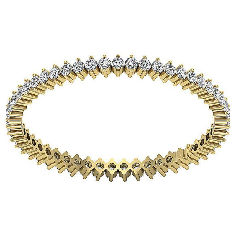 Eternity Ring Engagement Band Round Cut Diamond SI1 G 0.55 Ct 14K Gold Prong Set