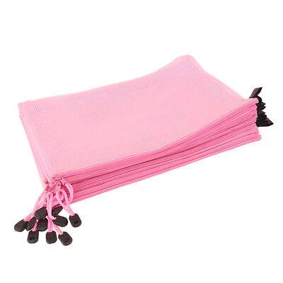 12 x Office Document Folder Storage Plastic A4 Zipper File Bags Pouch Pink