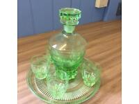 Art Deco decanter and glass swt