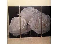 Canvas Pictures Paper Roses Triptych - Set Of 3