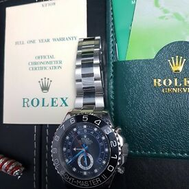 Men's Rolex Yacht Master II black face and silver oyster bracelet complete in Rolex box bag & papers