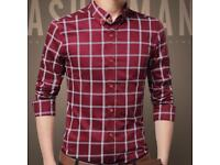 New Mens Long Sleeve Casual Slim Fit Wedding Shirts,Tuxedo, Business & Social Shirts LARGE RED