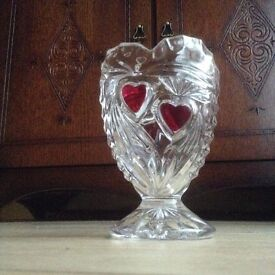 Pretty glass vase with hearts on it - due to house sale, must go!
