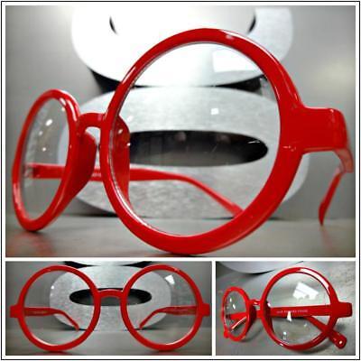 New VINTAGE RETRO WALDO PROFESSOR Style Clear Lens EYE GLASSES Round Red Frame