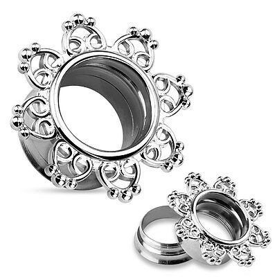 - Pair Surgical Steel Double Flared Tunnels Ear Plugs with Tribal Hearts Filigree