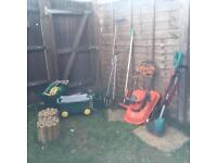 Garden accessories inc flymo, trimmer, hose, shears etc