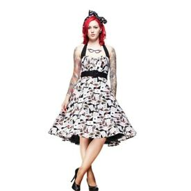 HELL BUNNY POKER FACE HALTER NECK DRESS SIZE M ABOUT A 10/12 WOULD BE GREAT FOR FANCY DRESS