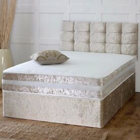 EASTER SALE = DOUBLE CRUSHED VELVET DIVAN BED BASE WITH SEMI ORTHOPAEDIC OR DEEP QUILTED MATTRESS