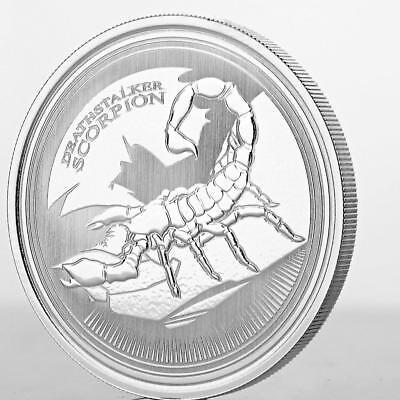 2017 1 Oz Deathstalker Scorpion  999 Silver Coin Prooflike Rep Of Chad  A431
