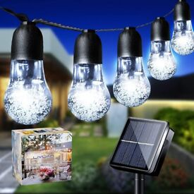 NEW LiyuanQ Solar String Lights Garden 33Ft 50LED Solar String Bulb Lights Outdoor (Cool White)
