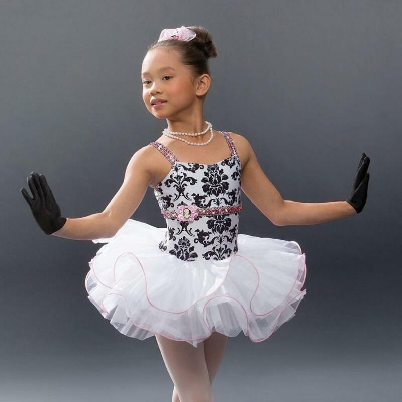 Dance Costume Medium Child White Leotard Tutu Sequin Revolution Solo Pageant