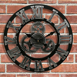 3D Gear Wooden Wall Clock Antique Roman Silent Sweep Non-ticking 34cm Silver