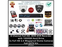 2 Cameras QVIS FULL HD CCTV Kit, 8 Channel Full HD DVR 1TB HDD, 2x HD 2.4 Megapixel Dome Camerss