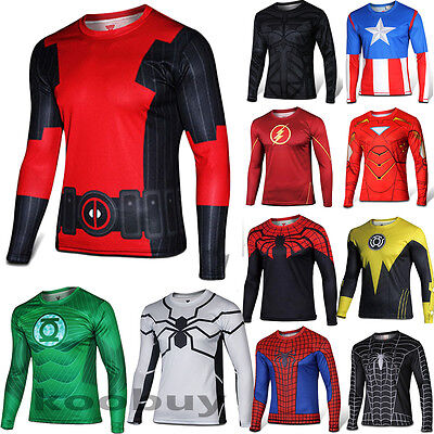 Men T-Shirt  Long Sleeve Compression Tops Superhero Avengers Marvel Fitness Tee - Mens Superhero Costumes