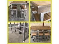 Breakfast bar/6x stools/kitchen island/industrial/Rustic/Reclaimed/Wood/steel/Bespoke