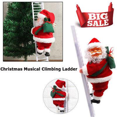 Animated & Musical Jingle Bells Santa Claus Christmas Climbing Ladder Decoration