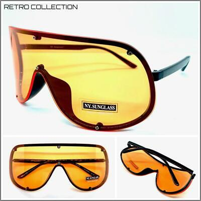 Orange Lens Sunglasses (OVERSIZED RETRO FACE SHIELD VISOR SUNGLASSES Huge Jumbo Big XL Frame Orange)