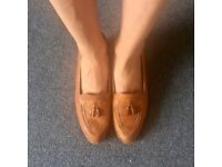 Vintage Cognac Loafers with slight heel good condition slight wearing geek chic work shoes Size 5UK