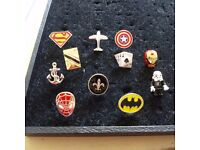 NOVELTY CUFFLINKS 22 PAIRS NEW JOB LOT MARKET STALL SUPERMAN BATMAN STAR WARS IRON MAN ETC