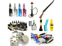 VARIATEY OF PRODUCTS AVAILABLE AT UNBEATABLE PRICES! CABLES! BONGS! HOKAH! E-LIQUIDS! MODS! BAGGYS!