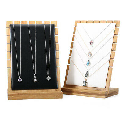 Blackwhitebeige Vertical Wooden Board Necklace Display Jewelry Stand