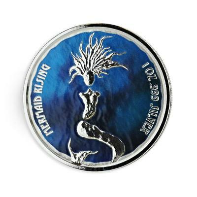 2018 1 oz Fiji Mermaid Rising PROOF COLOR .999 Silver Coin Prooflike BU #A447