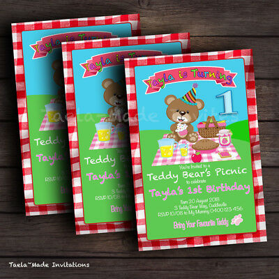 Teddy Bear's Picnic Personalised Birthday Party Invitation DIGITAL FILE ONLY](Teddy Bear Picnic Party)