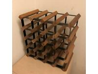 Metal and Wood Bottle Rack