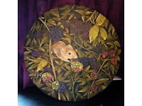 Original, one-off harvest mouse oil painting