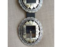 Stunning Western Silver Navajo Style Ladies Belt with Black Leather Strap