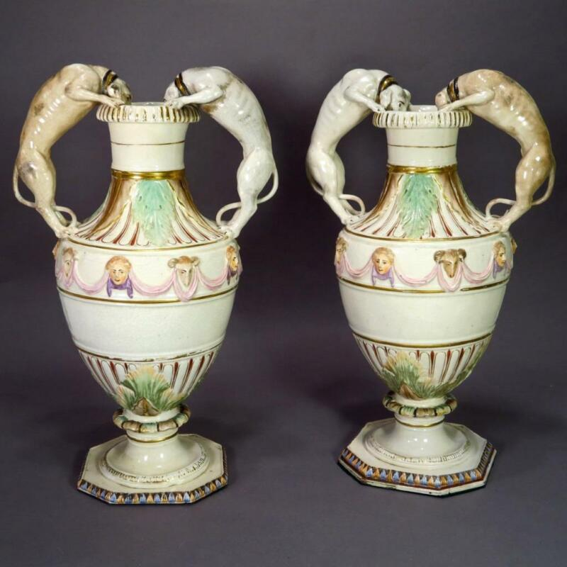 Pair Early 19th Century Continental Porcelain Urns With Dog Sculptures Rare