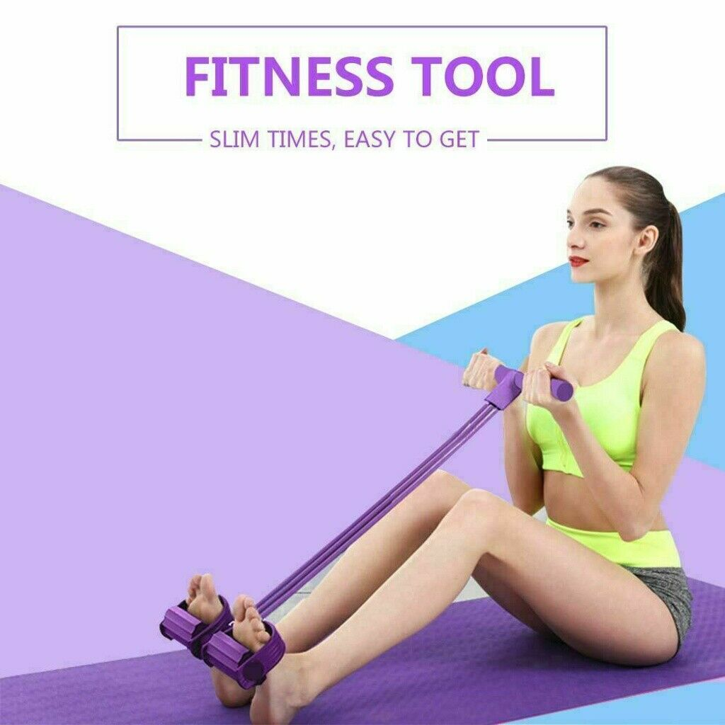 Home Gym Sport Geräte Fitness elastisches Sit Up Pull Rope Bauchtrainer Yoga DE